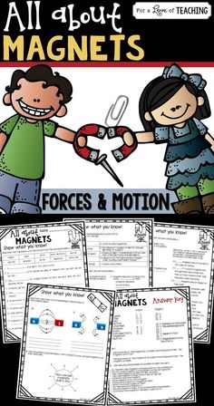 All About Magnets (Forces & Motion) works great as student desk work, center work, or as a test. Includes 32 open-ended and multiple choice questions about magnets. Use as a supplement to any magnets unit.