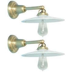 Antique Pair of Deep Brass Wall Sconces with Milk Glass Shades