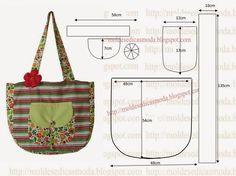 Com base nas medidas que a imagem sugere desenhe em papel o saco em tecido com molde grátis. Depois de obter o molde corte o tecido exterior e o interior...