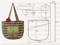 BOLSA FÁCIL DE FAZER Com base nas medidas que a imagem sugere desenhe em papel o molde desta bolsa. Depois de obter o molde corte o tecido exterior e o int