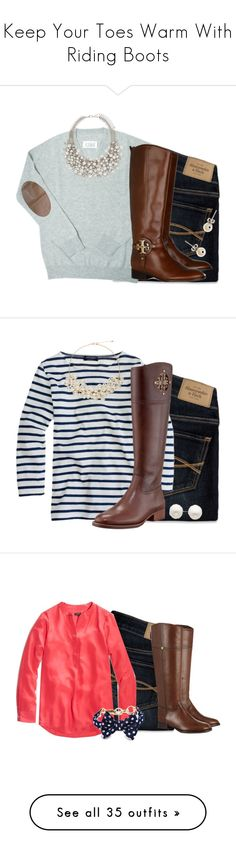 """""""Keep Your Toes Warm With Riding Boots"""" by classycathleen ❤ liked on Polyvore featuring Abercrombie & Fitch, Maison Margiela, Forever New, J.Crew, Tory Burch, Reeds Jewelers, The Limited, Kiel James Patrick, H&M and Izabel London"""