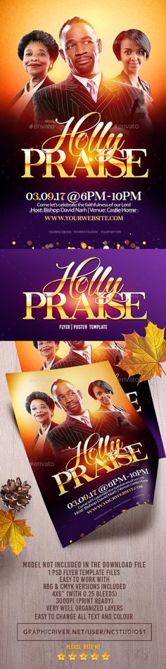 Buy Holly Praise Flyer Template by on GraphicRiver. Holly Praise Flyer Template is very modern psd flyer that gives the perfect promotion for your upcoming corporate or . Church Graphic Design, Church Design, Graphic Design Branding, Flyer Design Inspiration, Design Ideas, Music Flyer, Flyer Printing, Flyer Layout, Party Flyer