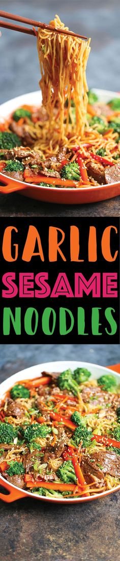 Garlic Sesame Noodles - Easy peasy take-out style sesame noodles for those busy weeknights! It's a simple, quick meal the whole family will LOVE! (Healthy Recipes For Family) Asian Recipes, Beef Recipes, Cooking Recipes, Healthy Recipes, Noodle Recipes, Icing Recipes, Lentil Recipes, Spinach Recipes, Simple Recipes