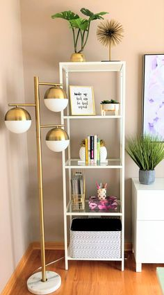 Before & After: Purple & Gold Office Gold Accents from Target for this Glam Office - Mobilier de Salon Target Home Decor, Cheap Home Decor, Home Office Design, Home Office Decor, Office Ideas, Therapy Office Decor, Office Style, Decoration Ikea, Office Decorations