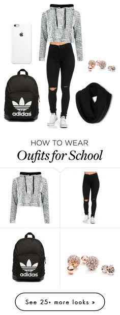 """School"" by dogs109 on Polyvore featuring Mode, adidas Originals, GUESS, women's clothing, women's fashion, women, female, woman, misses und juniors"