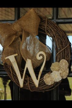 Wreath with Burlap bow and Initial by MandEBoutique on Etsy, $36.00