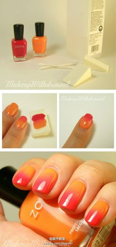 orange and coral ombre nails