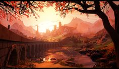 Sunrise - Stylized landscape in Unreal 4, Martin Teichmann on ArtStation at https://www.artstation.com/artwork/1ZlxL