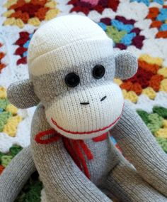 Grey Sock Monkey with Red Felt Heart Patch by hoffeeandanuffin, $37.00