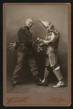 Actors Fred Stone and David C. Montgomery in the 1902 musical stage production of The Wonderful Wizard of Oz — written by Frank L. Baum,with original music by Paul Tietjens, produced by Fred R. Hamlin