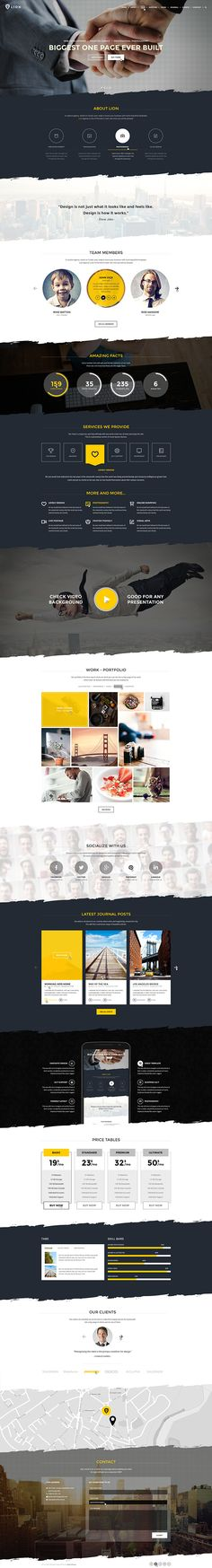 Lion - Multipurpose One Page Template on Behance