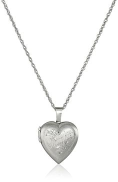 Ladies' Sterling Silver Heart Pendant with 'Daughter' Locket Necklace, 18' *** You can get additional details at the image link.