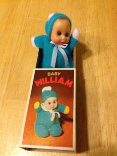 1970 s Baby William Mini Bean Matchbox Doll Rare Blue (02 09 2014) d4a1cff989fb