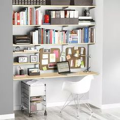 Sand & Platinum elfa Home Office Shelving
