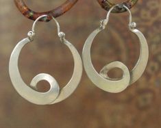 Sterling Silver Twist Earrings hoop style by BobsWhiskers on Etsy