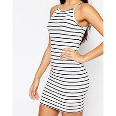 ASOS Mini 90's High Neck Body-Conscious Dress In Stripe ($26) ❤ liked on Polyvore featuring dresses, jersey dress, cotton dress, asos dresses, high neck dress and white bodycon dress
