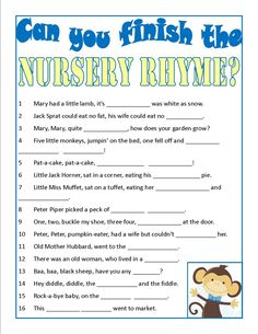 Baby Shower Game - Can you finish the nursery rhyme? - super easy one , my combo with a harder one