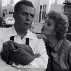Desi Arnaz & Lucille Ball late 1950s. Lucy whispering in Desi's ear.