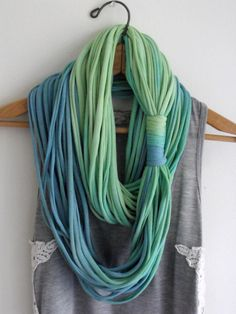 String Theory... Multi string infinity scarf in ombre of blue green. $25.00, via Etsy.