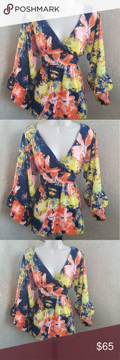Betsey Johnson vneck flared blouse gorgeous sz XL sleeves flare and ruffle out ties in back #a Betsey Johnson Tops Blouses