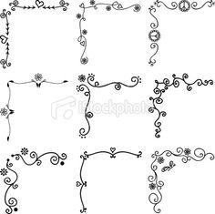 Black Ink Corners royalty-free black ink corners stock vector art & more images of corner Doodle Drawings, Doodle Art, Easy Drawings, Zen Doodle, Bullet Journal Ideas Pages, Bullet Journal Inspiration, Doodle Borders, Doodle Patterns, Doodle Lettering