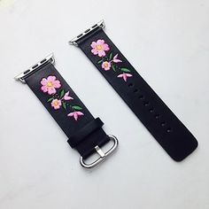 Faux Leather Watchband For Apple Watch Red Flower Embroidery Women Men Replace Bracelet St Apple Watch Bands Fashion, Unique Roses, Simple Jewelry, Bracelet Designs, Series 4, Red Flowers, Gold Gold, Stainless Steel, Silver