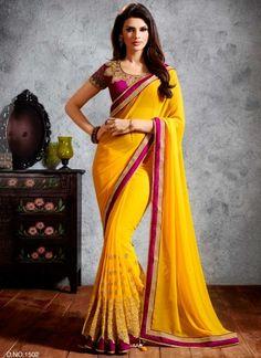Sunlight Yellow Georgette With Zari Embroidery Work Designer Saree