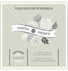 Vintage wedding invitation card vector by ARNICA on VectorStock®