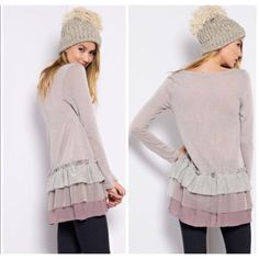 Three Layered Baby Doll Tunic Baby doll styled sweater with three layers off ruffles at the bottom. Cotton blend with knit in a light mauve color. Gives a girly and chic vibe. Sizes small, medium & large Tops Tunics