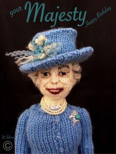 #queen #elizabethII #Queenat90 #happybirthday #yourmajesty #knittedoll #denise