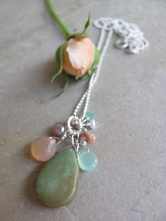 Seaside Chrysoprase, Pink Moonstone, Pearl, Andalusite and Niihau Shell on Sterling Ball Chain Necklace. $50.00, via Etsy.
