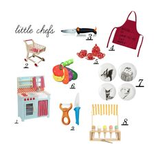 My kids love to help me in the kitchen and when I need a break, they serve me yummy cakes and tea. Here are a few ideas for your little chef:  1. cute wooden toy kitchen 2. wooden toy caddy 3. kids knife 4. fun apron 5. ceramic tea set 6. fruit and veggie …
