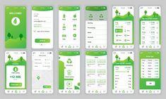 Set of ui, ux, gui screens ecology app flat design template for mobile apps, responsive website wireframes. App Ui Design, Mobile App Design, Application Ui Design, Interaktives Design, Design Plat, Web Mobile, Android App Design, Mobile App Ui, Interface Design