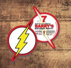 The FLASH BIRTHDAY INVITATION, superhero party, dc comics Flash Birthday Party, Barry Allen, The Flash, Speedster by TRUSTITI on Etsy