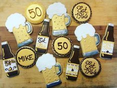 Fiftieth Birthday sugar cookies cheers and beer beer est finely frosted Beer Birthday Party, Dessert Table Birthday, 40th Birthday Cakes, Birthday Desserts, 40th Birthday Parties, Birthday Cookies, Man Birthday, Fiftieth Birthday, Cake Decorating With Fondant
