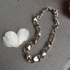 Modernist BEAU Sterling Silver 925 Hearts and Double Link