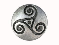 2 Celtic Triple Spiral Triskele 7/8 inch  22 mm  by ButtonJones, $4.00