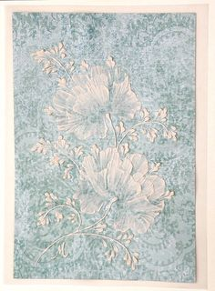 Soft Blue 3D Texture Painted MUD Floral Greeting Card - SOLD!