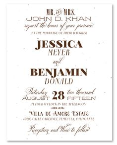 Seeded Paper Wedding Invitations with unique typography that go hand in hand with a rustic ceremony.