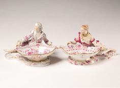 Pair Meissen Porcelain Figural Sweetmeat Dishes