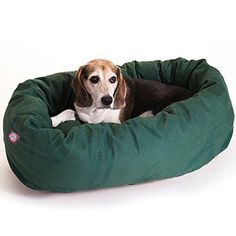 Bagel Dog Bed Small Round Luxurious Plush Dog Bed Green Bagel Dog Bed