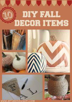 10 DIY Fall Decor Items | Via @Kat Ellis #fall #decor #diy