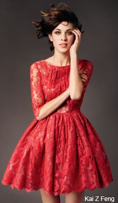 Alexa Chung in Net-a-Porter red lace dress