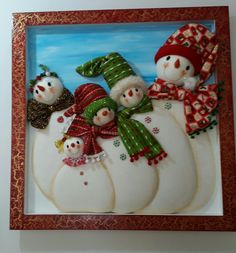 Felt Christmas, Christmas Themes, Christmas Ornaments, Holiday Decor, Shadow Box Art, Snowman Wreath, Christmas Embroidery, Winter Pictures, Crafts To Make