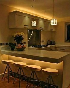 """286 curtidas, 4 comentários - ap114 (@ap_114) no Instagram: """"Lindeza de cozinha com iluminação indireta dando show!!! *Inspiração*  #decoracao #decor…"""""""