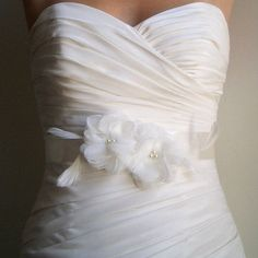 PETITE ASHLEY - Two Ivory flowers on Ivory Satin with Feathers- Bridal Sash picture on VisualizeUs