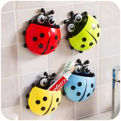 2016 Creative Cute Ladybug Toothbrush Rack Wall Suction Cartoon Sucker Toothbrush Holder Bathroom Sets Household Items