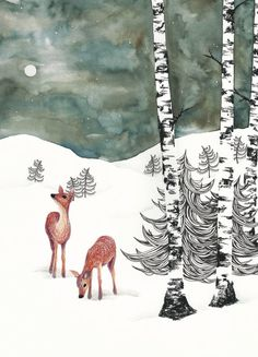 Art Print / Postcard Deers in Winter Night Watercolor Winter Illustration, Forest Illustration, Graphic Design Illustration, Watercolor Illustration, Painting Snow, Painting & Drawing, The Snow Child, Winter Drawings, Deer Drawing