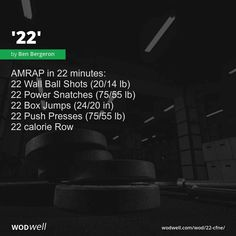 AMRAP in 22 minutes: 22 Wall Ball Shots lb); 22 Box Jumps in); Crossfit Workout Program, Crossfit Workouts At Home, Amrap Workout, Abs Workout Routines, Workout Programs, Fitness Workouts, Hiit, Kettlebell Swings, Muscle Up