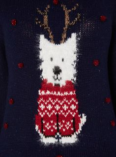 This super-soft jumper adds festive cheer to the cold season. In navy, this classic fit jumper has a round neckline and long sleeves with a comfortable soft-knit material. Features a festive dog print, complete with sequinned pom-pom detailing and working lights.<br /><ul><li> Navy light up dog jumper</li><li> Festive dog print</li><li> Pom pom detailing</li><li> Soft-knit material</li><li> Features lights</li></ul>